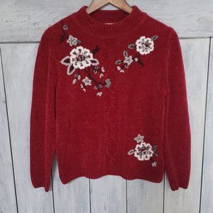 Alfred Dunner Moulin Rouge Floral Knitted Sweater